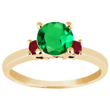 1.01 Ct Round Green Simulated Emerald Red Ruby 14K Yellow Gold Engagement Ring