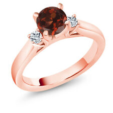 1.28 Ct Round Red Garnet White Topaz 18K Rose Gold Plated Silver 3-Stone Ring