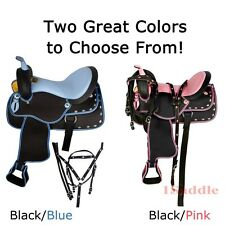New Synthetic Cordura Western Horse Trail Show Saddle Tack 14 15 16 17 Blue Pink