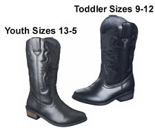 Cowboy/Cowgirl/Western/Riding Boots Black Faux Leather:Toddler/Youth Girls NWT