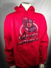 AUTHENTIC CAPTAIN AMERICA MARVEL COMICS SUPERHERO RED HOODIE SWEAT SHIRT S-2XL