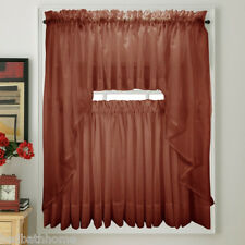 NEW Elegance Voile CRANBERRY Sheer Tier Panel Curtains for Kitchen or Bedroom