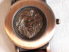 LION HEAD LUXURY LOOK WATCH*COPPER OR GOLD TONE FACE*GENUINE LEATHER BROWN BAND
