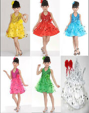 4-13Y Girls Party Ballet Tutu Sequins Performance Costume Latin Dance Dress New