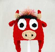Benny the Bull Earflap Hat from Chicago Bulls, Red Basketball Beanie baby-adult