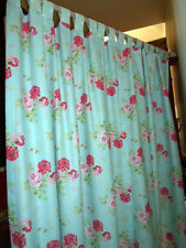 """TAB CURTAINS each 68"""" w made in CATH KIDSTON ANTIQUE ROSE BOUQUET BLUE cotton"""