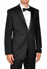 Calvin Klein Men's 100% Wool Slim Fit Suit Black Flat front Tuxedo