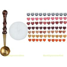 #QZO 1 Set Heart Shape Sealing Wax Beads with Melting Spoon Candle 12 Colors