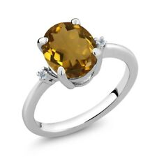 2.32 Ct Oval Whiskey Quartz White Topaz 925 Sterling Silver Ring