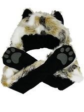 Faux Fur Animal Hat with Paws - Arctic Fox