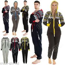 New Mens Womens Ladies Unisex Aztec Print Zip All In One Fleece Jumpsuit Onesie