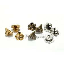 50pcs Antique Silver/Golden/Bronze Petunia Flower Bead Caps End Bead for Jewelry