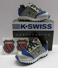 K-Swiss boys tubes run 100 Classic blue/Silver Riptape Trainers New In