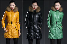 New Womens Down Parka Winter PU Leather Coat Real Fur Collar Jacket Slim Belted