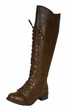 Water! Lace Up Knee High Riding Boot Sculpted Shaft Tan Distressed Leatherette