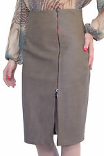 Office Work Lined Pencil Faux Leather Bizon Brown Grey Skirt UK 8 10 12 14 16 18