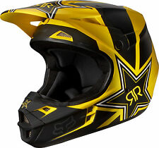 NEW 2014 FOX RACING V1 ROCKSTAR MX DIRT BIKE HELMET MATTE BLACK/YELLOW ALL SIZES