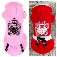 Good Winter Small Girl Dog Pet Clothes Apparel Hoodie Princess Heart Dress XS-XL