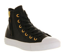 Converse All Star Hi Leather Side Zip BLACK GOLD Trainers Shoes