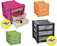 A4 SIZE 3 DRAWER SHALLOW STORAGE UNITS PLASTIC PAPER ORGANIZER TOWER OFFICE NEW
