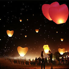 10/20 PCS Red Heart Flying Sky Chinese Paper Kongming Lights Wishing Lantern