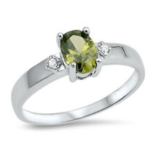 .925 Sterling Silver Oval Cut Simulated Peridot CZ Promise Ring Size 5-9 NEW