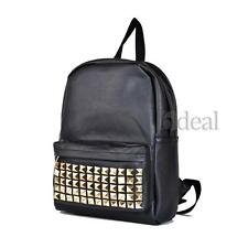 Women Backpack Bookbag Satchel School Shoulder Bag PU Leather Rivets Travelling