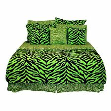 Black & Lime Green Zebra Bedding Comforter & Sheet Set Bed In A Bag~4 Sizes