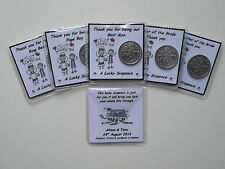 Personalised Lucky Sixpence Wedding Favour Just Married Light Skin Couple (W01)