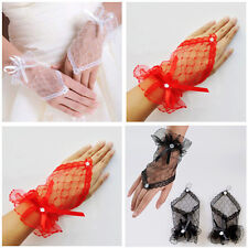 1 Pair Nice Fingerless Wedding Evening Party Dress Lace Short Bridal Gloves New