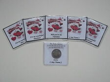 Personalised Valentine's Day Lucky Sixpence Favour Free P&P