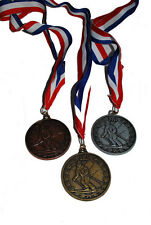 New! Alpine Ski Award Medals Mountain Background w/Red, White, and Blue Ribbon