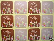 Thank You stickers flower square labels sheets