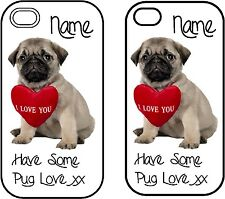 Cute Pug iPhone 4/4s Personalised Phone Case Great Gift white or black case