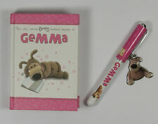 Personalised Boofle notebook and pen. New, girl named pink mini note book