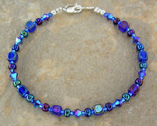 Iris Blue Anklet / Bracelet in Czech Glass and Swarovski Crystal -Sm - Plus Size