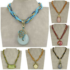 VTG Copper CZ Chunky Crystal Glass Beads Gemstone Chain Cowgirl Necklace Pendant