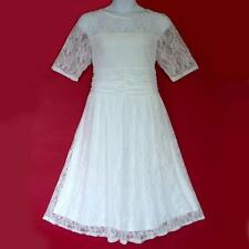 PB19 - 1X 2X 3X Sheer Lace Ruched Waist Casual Wedding Tea Dress White Ivory