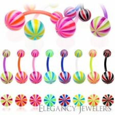 14GA BioFlex Flexible Candy 3 Color Striped Navel Belly Ring (Multiple Colors)