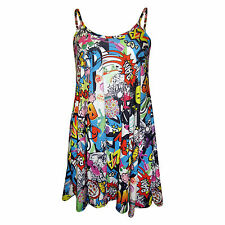 H6C NEW LADIES WOMENS COMIC BANG PRINT CAMI SLEEVELESS SWING DRESS TOP SM ML