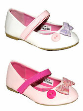 GIRLS PATENT FLAT VELCRO FASTENING BALLET DOLLY PUMPS SHOES UK SIZE 4-12