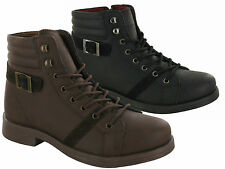 MENS BOYS LACE UP BUCKLE BOOTS ZIP HIGH ANKLE HIKING WAKING COMFY SHOES UK SIZES