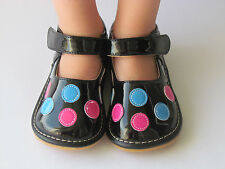 Squeaky Shoes for Toddlers - Black w/ Multi Dots, Mary Jane, Up to Size 7