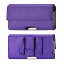 PURPLE Leather Belt Clip Case Pouch Magnetic Closure for Cell Phones PLUS SIZE
