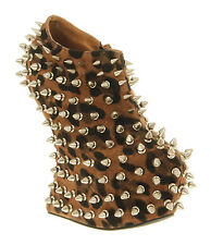 Womens Jeffrey Campbell Shadow Spike Cheetah Sde Silver Stud Boots