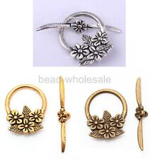 15sets Tibetan Silver Flower Circle Toggle Clasps Antique silver/Golden/Bronze