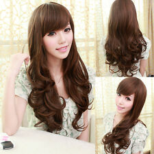 Womens Fashion Long Curly Wavy Full Wigs Hair Side Fringe/Bangs Cosplay Wig