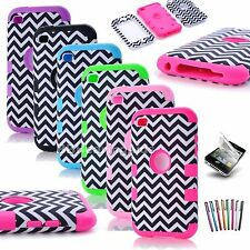 Chevron Wave Hybrid Impact Rubber Matte Hard Case Cover for iPod Touch 4 4th Gen