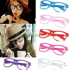 Fashion Candy Color Unisex Clear Lens Wayfarer Nerd Geek Glasses Various Colors