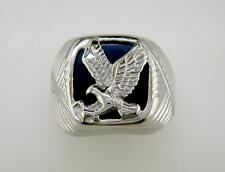 Mens Ribbed Shank Eagle Signet Ring Stainless Steel